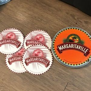 Margaritaville coasters and tin